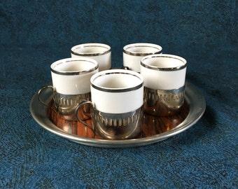 Vintage Porcelain Espresso Set with Laminate Tray, Porcelana Veracruz, Web Silver Company, Formica, Bellini Silverplate