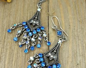 Vintage Blue Rhinestone Chandelier Earrings