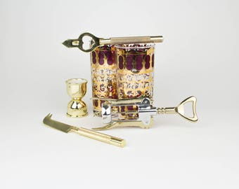 Vintage Barware Set - Bar Cart -  Bar kit - Bottle Opener - Garnish Knife - Wine Opener - Jigger - Mid Century - Modern - Brass - Glasses