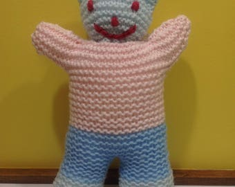 Knitted Teddy Bear - Soft toy, plushie, stuffed animal - Blue & Pink - Baby toy