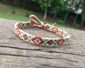 Green and Red Diamond Friendship Bracelet