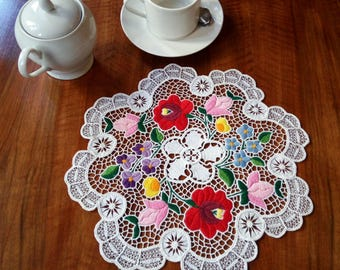 Hand embroidered Kalocsa lace embroidery (Richelieu) doily with authentic Hungarian embroidery pattern