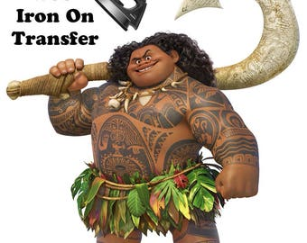 Iron On Transfer Maui Moana Halloween Costume DIY for Babies, Todlers, Kids of all ages and Adults