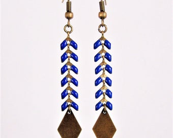 Cobalt blue spike chain earrings