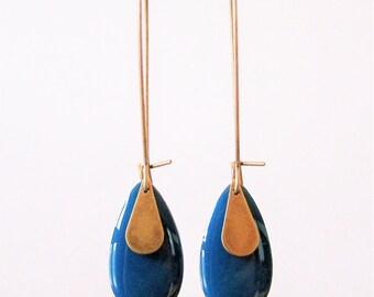 Teal enameled sequin drop earrings
