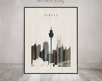 Sydney wall art, Sydney skyline, poster, print, Travel decor, distressed art, Australia, Typography art, Gift, Home Decor, ArtPrintsVicky