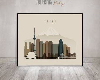 Tokyo skyline, art print, Poster, Wall art, travel, Japan cityscape, Travel gift, City print, Home Decor, Wall Decor, ArtPrintsVicky