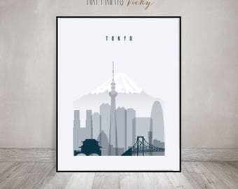 Tokyo wall art, Tokyo print, Tokyo poster, Tokyo skyline, City prints, Travel decor, Home decor, Wall decor, Gift, ArtPrintsVicky