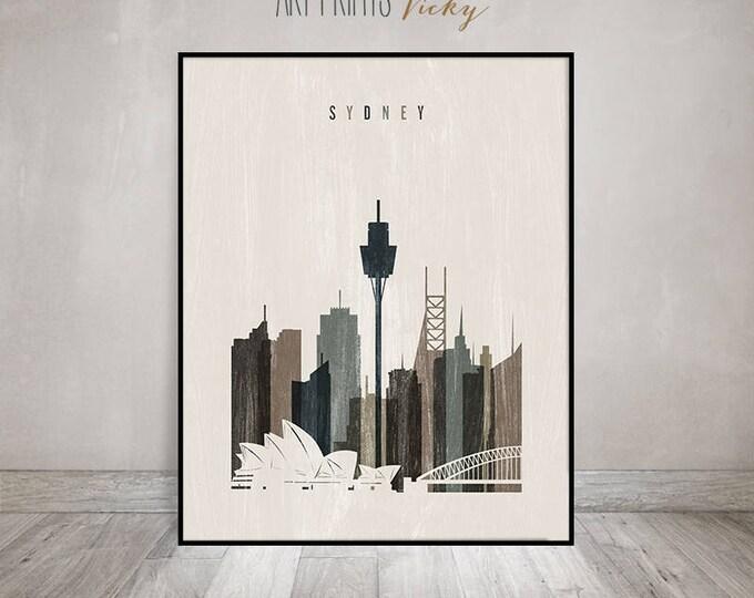 Sydney wall art, Sydney skyline, poster, print, Travel decor, distressed art, Australia, Typography art, Gift, Home Decor, ArtPrintsVicky