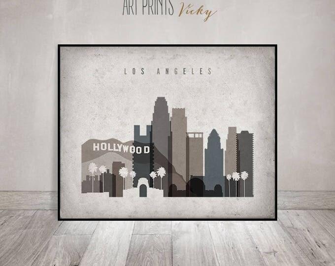 Los Angeles print, Los Angeles Poster, Wall art, Los Angeles skyline, office decor, travel, Vintage style, Gift, Home Decor, ArtPrintsVicky