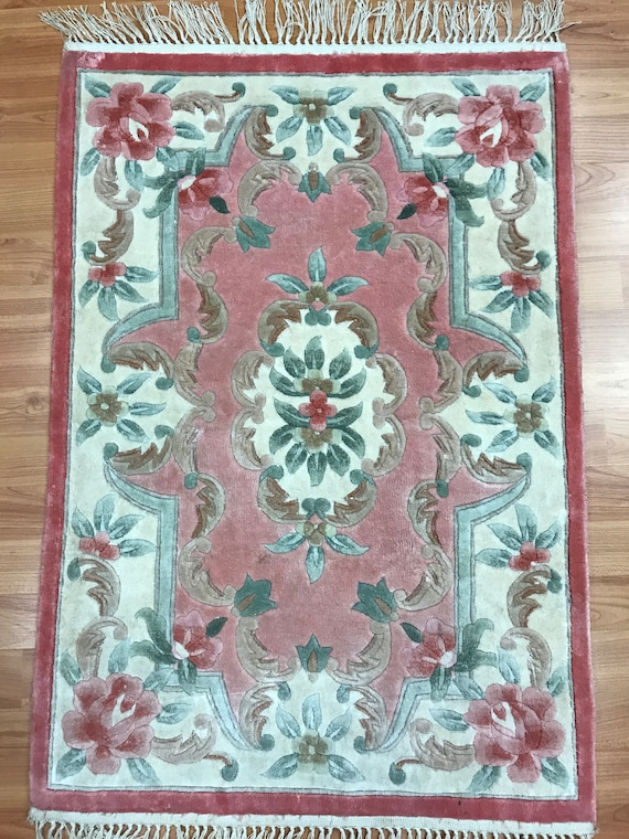 2' x 3' Chinese Aubusson Oriental Rug - Full Pile - Hand Made - 100% Silk