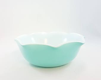 Vintage Set Hazel Atlas Crinoline Bowl Vintage Hazel Atlas Mid Century Kitchen Blue Hazel Atlas Rippled Edge 50s Kitchen