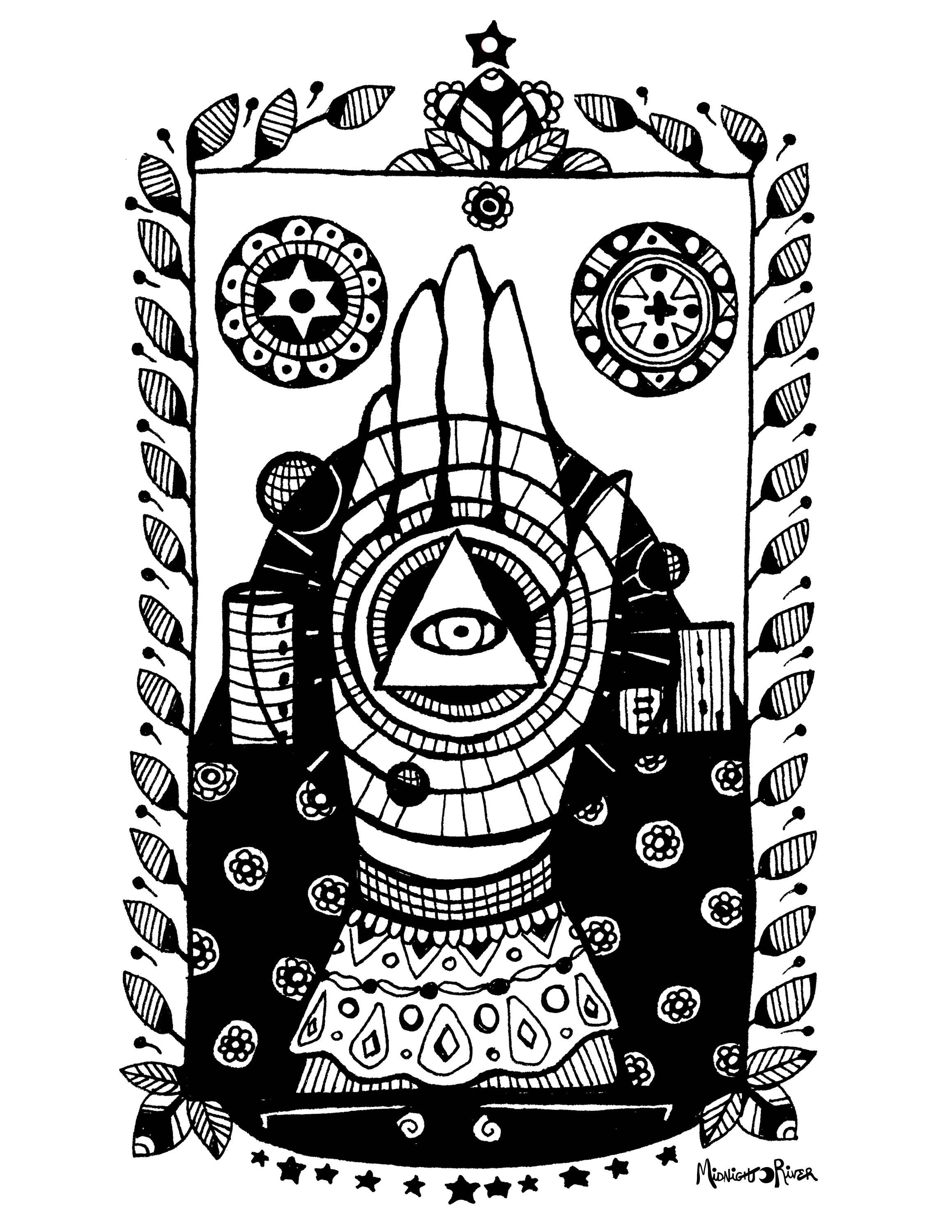 Printable Mystic Hand Coloring Page // All-Seeing Eye Symbol // Magical Adult Coloring PDF