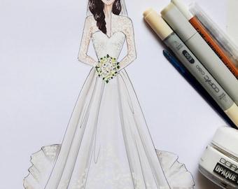 Custom Fashion Illustration, fashion bloggers custom illustration, sketchable looks custom sketch, custom.