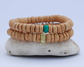 Coconut Wood and Gemstone Bracelet, Bohemian style