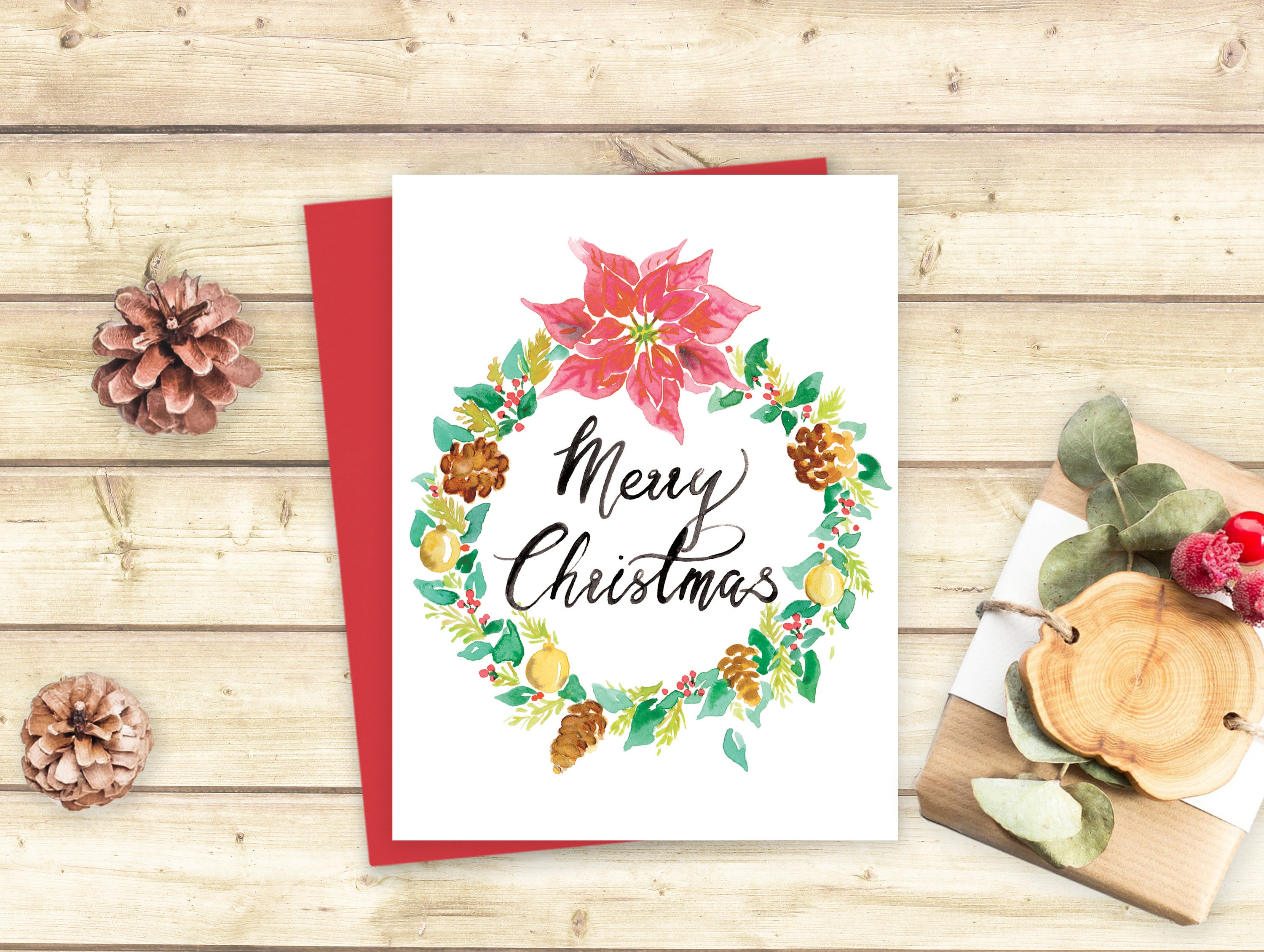 Merry christmas wreath card digital greeting card postcard merry christmas wreath card digital greeting card postcard watercolor poinsettia merry xmas seasons greetings kristyandbryce Images