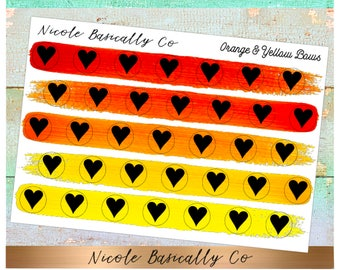 Heart Icons in Orange and Yellow Paint Stroke Colors- Planner Stickers