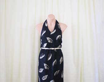 Black lace 70s Halterneck Wiggle dress, Small 4012