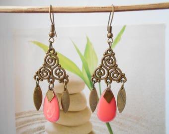 bronze sequin earrings coral