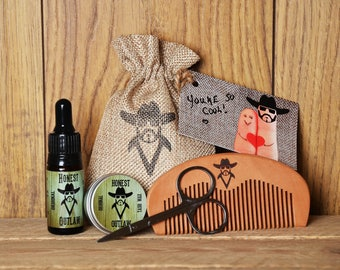 Beard Grooming Kit.Gift Set. Beard Oil. Moustache Wax. Beard Comb & Scissors.