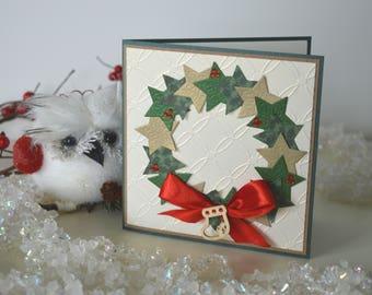 Christmas wreath card, Merry Christmas card, Green Xmas card, Christmas greetings, Seasonal card, Holiday card, Cute Christmas card