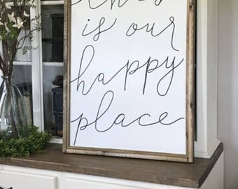This Is Our Happy Place Wood Framed Sign Canvas Sign, Wall Signs, Wall Home Decor
