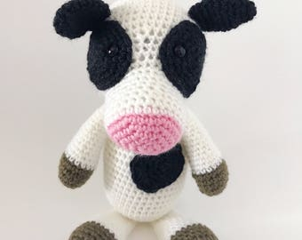 Cow, amigurumi cow, free US shipping, cute cow, crochet cow, toy cow, farmland toy, children's toy, plushie cow