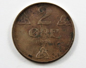 Norway 1921 Two Ore Coin.