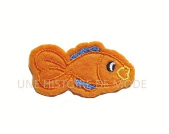 patch fusible badge fish to sew or iron 60 x 32 mm - fish coat orange