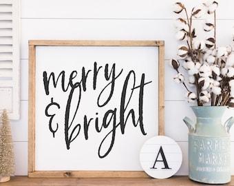 Merry & Bright, Christmas signs, Holiday Decor, Farmhouse Christmas Decor, Home Decor Signs, Rustic Wall Art, Farmhouse Decor