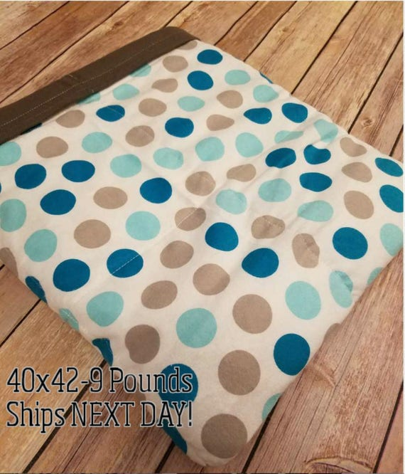 Teal and Gray Dot, 9 Pound, WEIGHTED BLANKET, Ready To Ship, 9 pounds, 40x42 for Autism, Sensory, ADHD