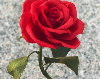 Crepe Paper Rose / Beauty and the Beast Inspired / Handmade Paper Flower / Handpainted Accents / Lifelike Design / All Colors Available