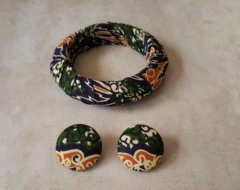 Ankara Fabric Jewelry Set - Ankara Bangle - African Fabric Bangle And Earring Set - African Fabric Bangle - African Fabric Stud Earrings