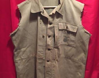 WW2 USMC P-44 HBT Shirt W/Cut-Off Sleeves