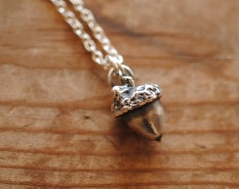 Silver Acorn Necklace | Sterling Silver | Hand cast