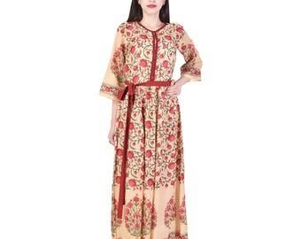 Indian Hand block Printed gathered Cotton Dress, Women's Summer Wear #SB17-04