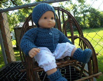 """15"""" Doll Sweater, Hat &  Shoes for Bitty Baby, doll sweater, bitty baby clothes, doll clothes, Effanbee, Horsman, doll shoes, doll hat"""