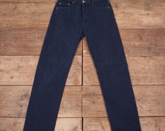 "Mens Vintage Levis 501 Red Tab 1980s  Dark Blue Jeans USA 32"" x 34"" R7014"