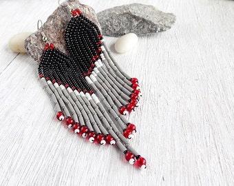 Black and gray earrings Party earrings Evening earrings long Earrings American Native Style earrings Dangle Earrings wing earrings Trendy