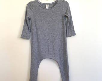 Grey Lightweight Rib Knit Harem Romper- Short Sleeve, baby onesie, solid romper
