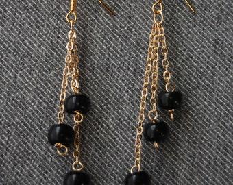 Onyx and 18k Gold Fill Dangle Earrings