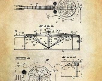 Dobro Guitar Patent Art Print - Guitar Patent Art Print - Musical Instrument Patent Art Print - Stringed Musical Instrument Patent Art Print