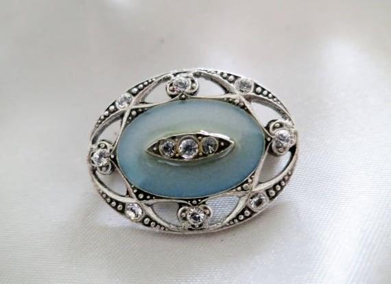 Lovely Catherine Popesco French vintage  art deco styled blue enamel rhinestone   brooch