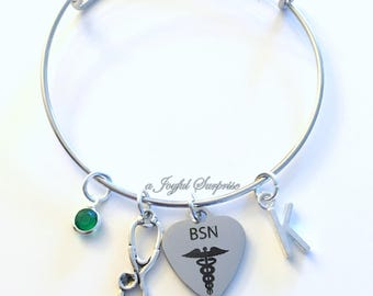 Gift for BSN Nurse Charm Bracelet, Nursing Jewelry Stethoscope Adjustable Bangle Silver initial Birthstone Birthday Present Graduation her
