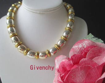 Givenchy Bead Necklace * Gold Tone And Silver Tone Necklace * Large Bead And Ring Necklace * Classic Vintage