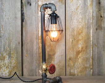 Industrial Table Lamp with Brass Valve & Edison Bulb #82