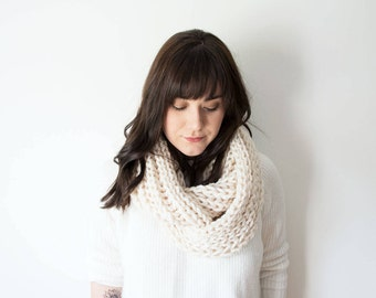 Knitted Scarf Chunky Infinity Wool Knit in 'Coconut' - The CURLEW Chunky Oversize Circle Cowl