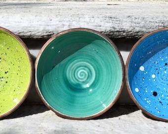 Ceramic pottery bowl, ceramic bowls, rustic bowl, breakfast bowl, snack bowl, fruit bowl, handmade bowl, Pokutska Keramika, Pottery bowl