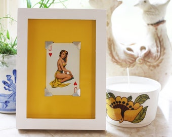 Framed ORIGINAL Vintage 1950's Glamour playing Card Picture, Jack of Hearts, pin up, Wall art, Vintage