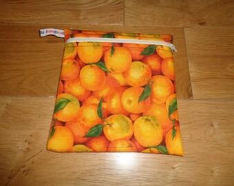 Sandwich Baggie Snack Bag - Bikini Bag - Lunch Bag - Craft Bag Medium Poppins Waterproof Lined Zip Pouch - Sandwich bag - Oranges Fabric